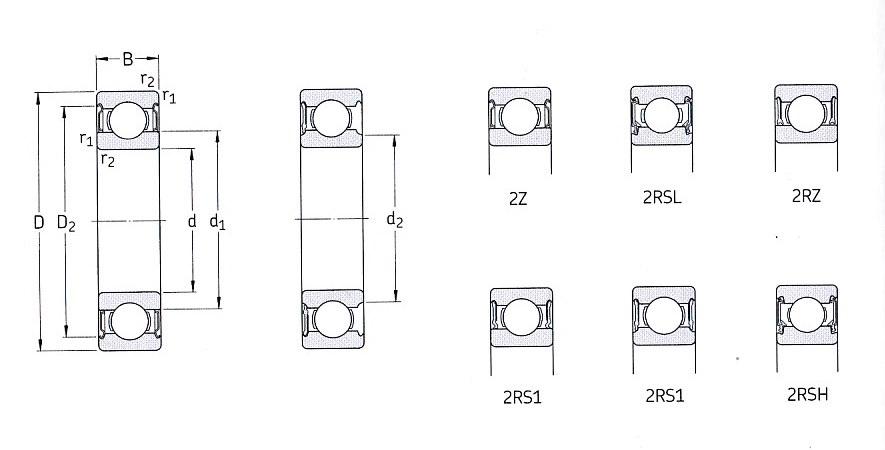 Однорядный радиальный шарикоподшипник с двусторонним уплотнением 6203-2Z